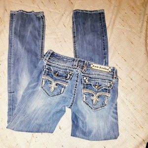 ROCK REVIVAL ANGIE BOOTCUT DENIM DISTRESSED JEANS